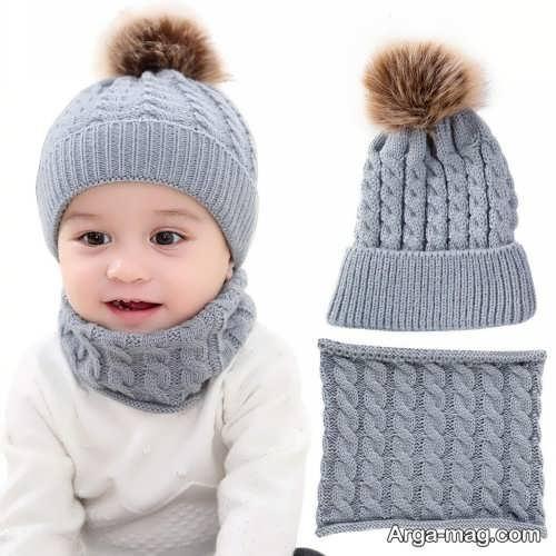 شال و کلاه طوسی نوزادی
