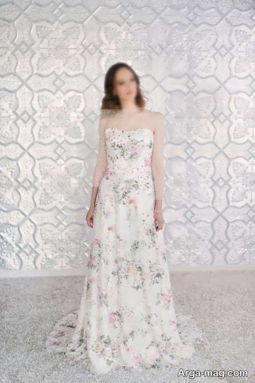 مدل لباس عروس گلدار