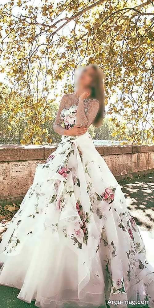 لباس عروس شیک و گلدار