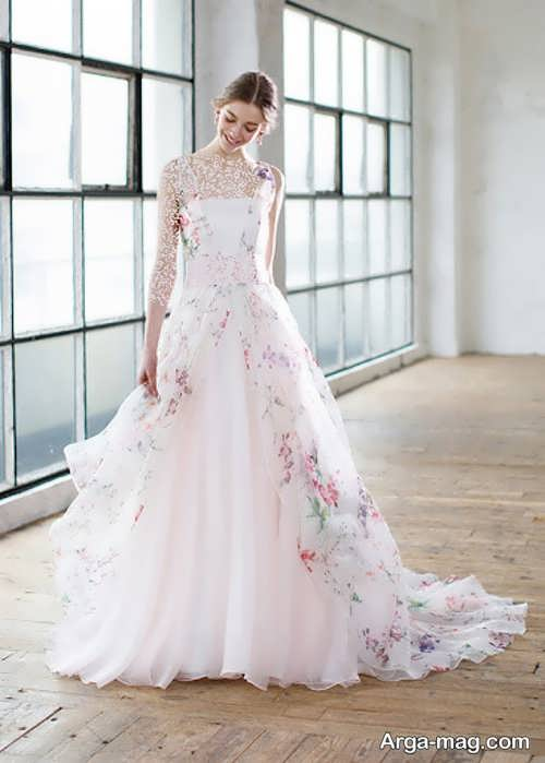 پیراهن عروس گلدار و شیک