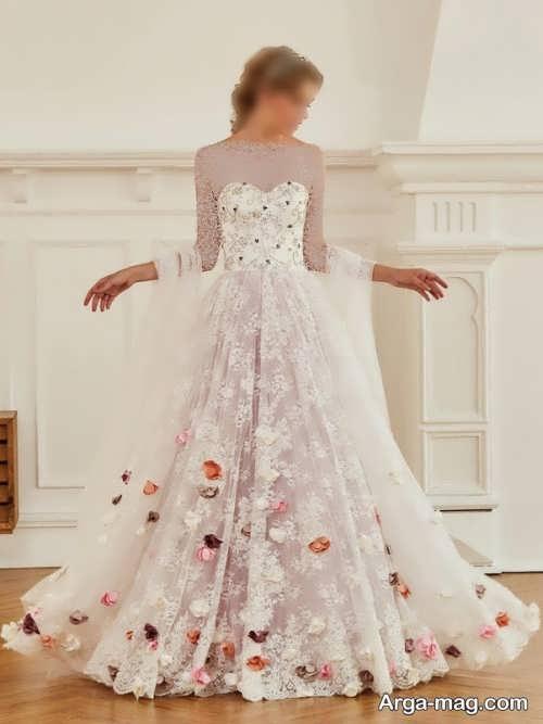 طرح پیراهن عروس گلدار