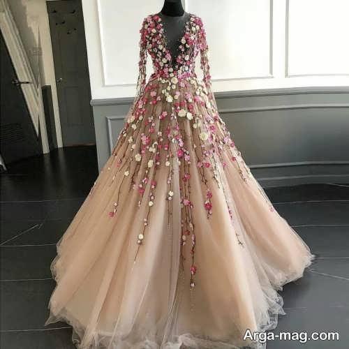 لباس عروس گلدار و زیبا