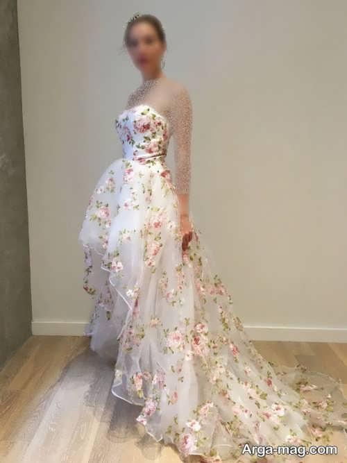 مدل لباس عروس گلدار شیک
