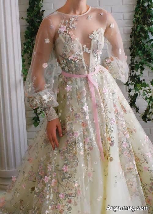 پیراهن عروس شیک و گلدار