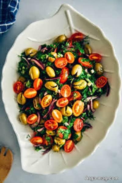 آشنایی با طرز تهیه سالاد زیتون و گوجه فرنگی