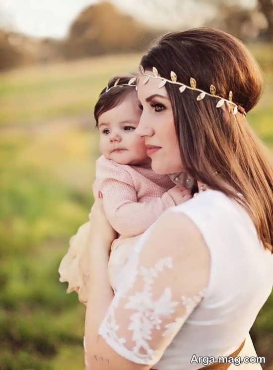 ژست عکس متفاوت و خاص مادر و دختر