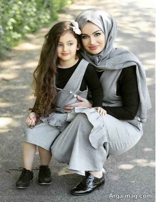 ژست عکس مادر و دختر بسیار جدید و قشنگ