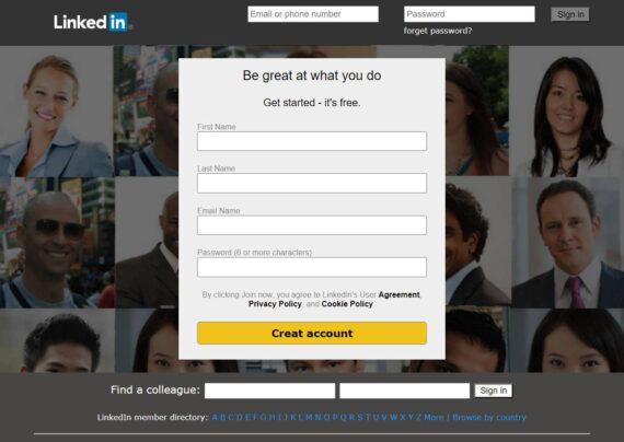 ثبت نام در لینکدین