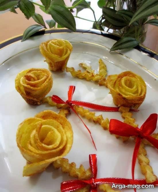 زیباسازی و طراحی سیب زمینی سرخ شده برای مجلس و مهمانی