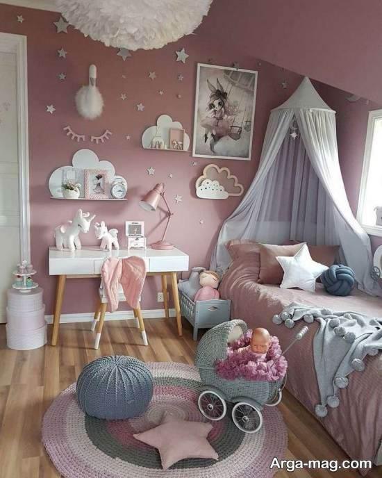 انواع نمونه های خاطره انگیز دیزاین اتاق کودک با تم یونیکورن