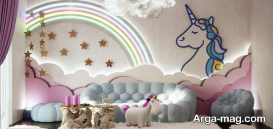 نمونه هایی بینظیر از چیدمان اتاق کودک با طرح یونیکورن