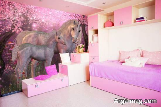 چیدمان زیبای اتاق دختر بچه با تم یونیکورن