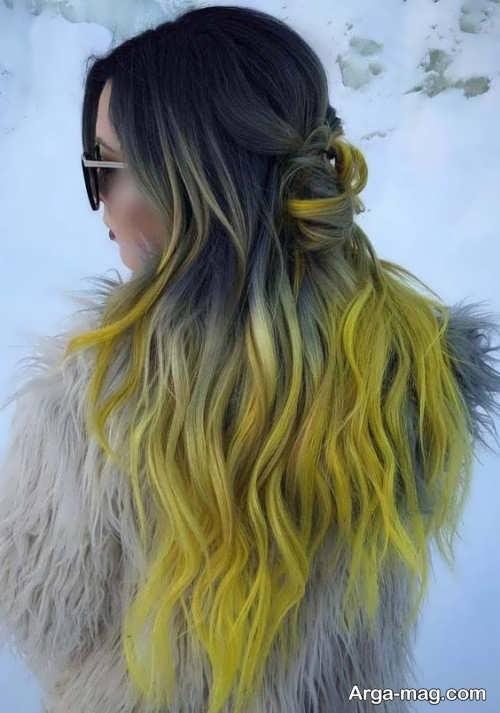 رنگ مو زیبا زرد و خاکستری
