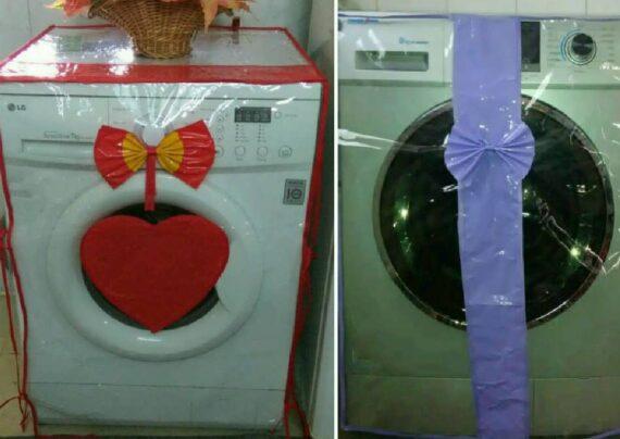 تزیینات خاص و خلاقانه ماشین لباسشویی عروس