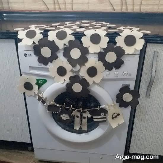 نمونه هایی دوست داشتنی ازطراحی و زیباسازی ماشین لباسشویی عروس