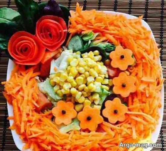 دیزاین سالاد با هویج، گوجه و خیار مزین شده