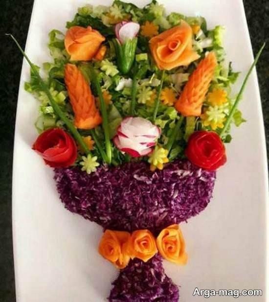 الگوهایی زیبا و جالب از تزیین سالاد با هویج