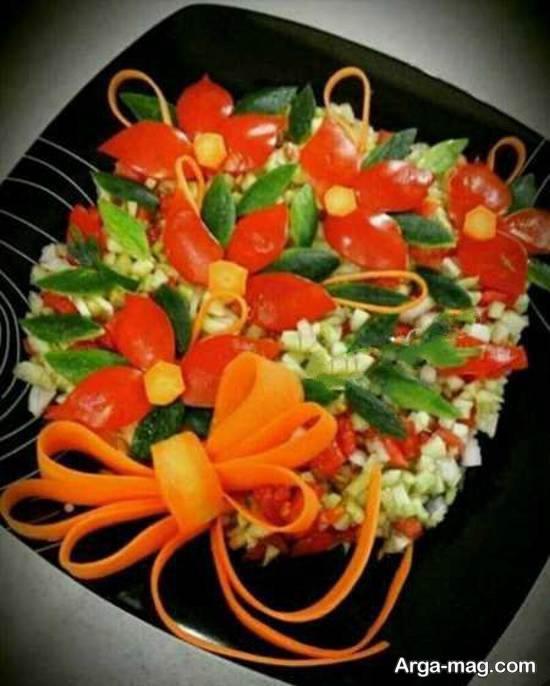مجموعه ای متفاوت و متنوع از تزیینات سالاد با هویج