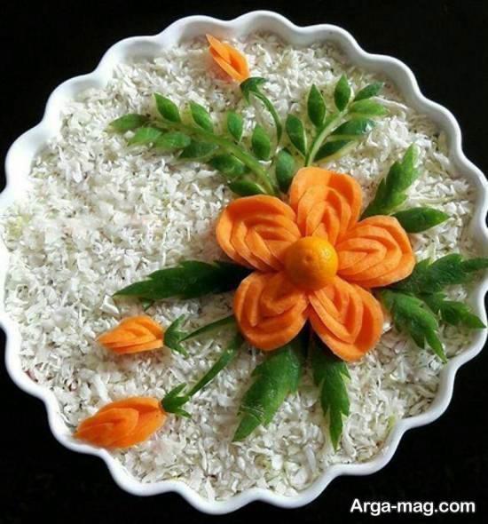انواع نمونه های فوق العاده و زیبای تزیین سالاد با هویج