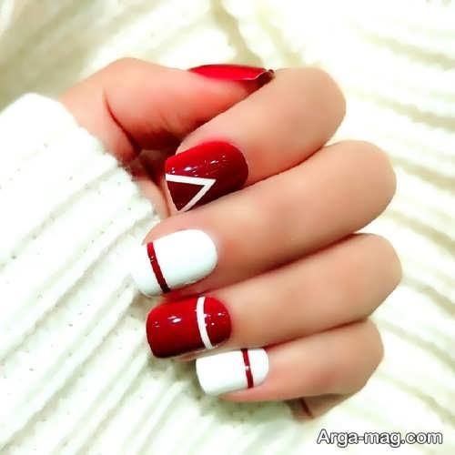 دیزاین ناخن با لاک قرمز و سفید