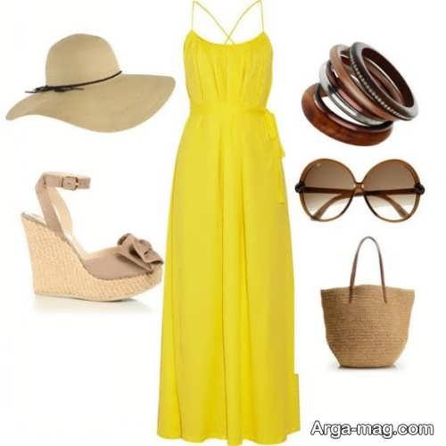 ست لباس زرد و قهوه ای