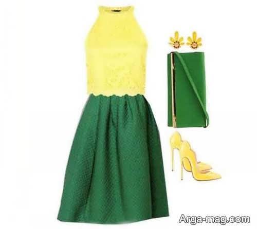 ست لباس زرد و سبز