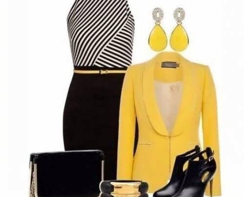 ست لباس رنگ زرد و مشکی