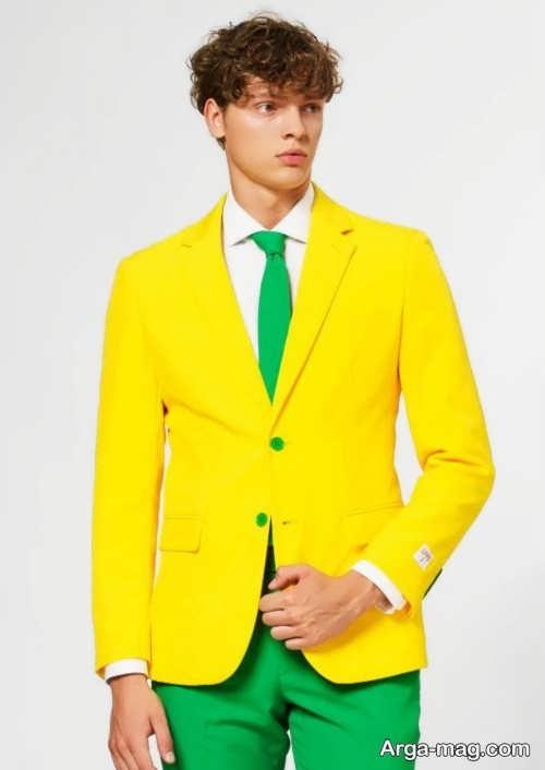 ست لباس رنگ زرد و سبز مردانه