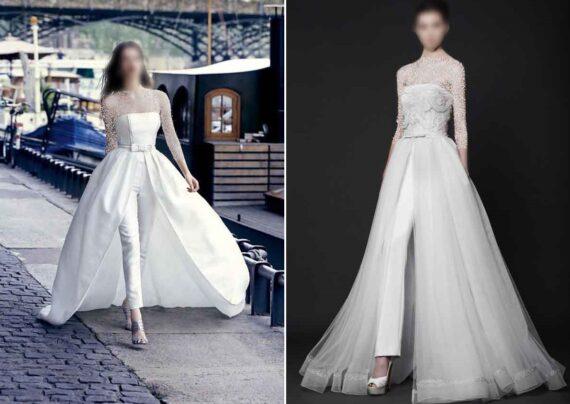 مدل لباس عروس با شلوار