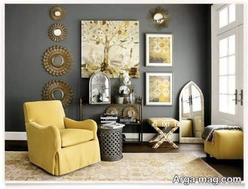 دکوراسیون زرد و خاکستری
