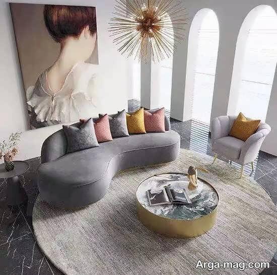 مبلمان زیبا و جذاب راحتی هلالی برای دیزاین منزل
