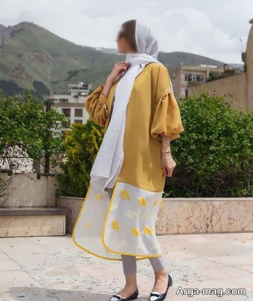 مدل مانتوی دو رنگ برای عید نوروز