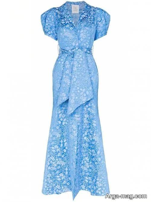 مدل لباس آبی ژاکارد