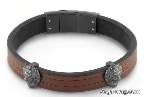 مدل دستبند ساده چرم مردانه