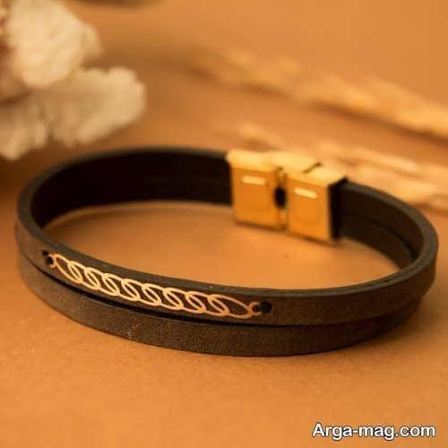 دستبند قهوه ای زیبا و شیک