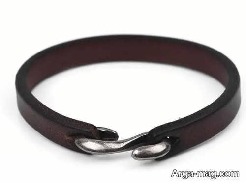 مدل دستبند مردانه چرم شیک و ساده
