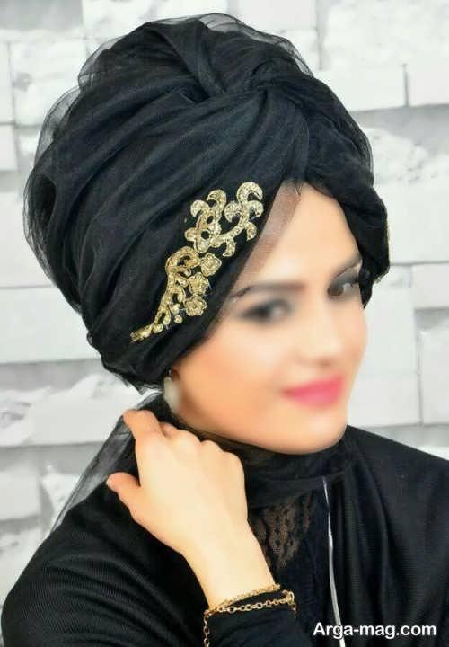 کلاه حجاب مجلسی طرح دار