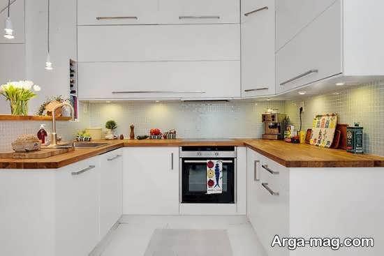 آشنایی با نمونه های جالبی از رنگ کابینت آشپزخانه دارای ابعاد کم