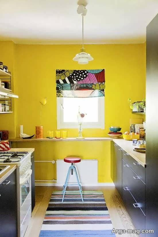 رنگ زرد شیک و زیبا برای برای کابینت آشپزخانه های با ابعاد کم