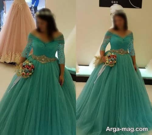 مدل لباس عروس شیک فیروزه ای