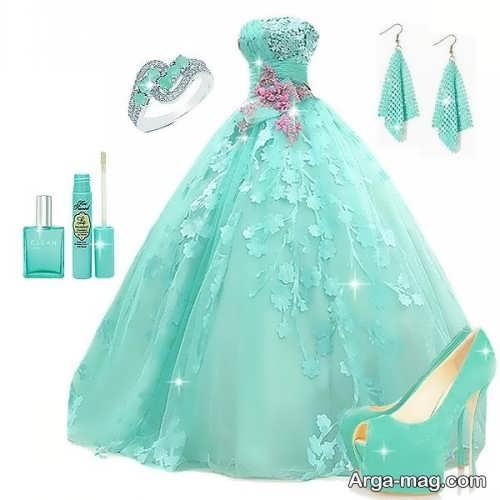 لباس عروس زیبا فیروزه ای
