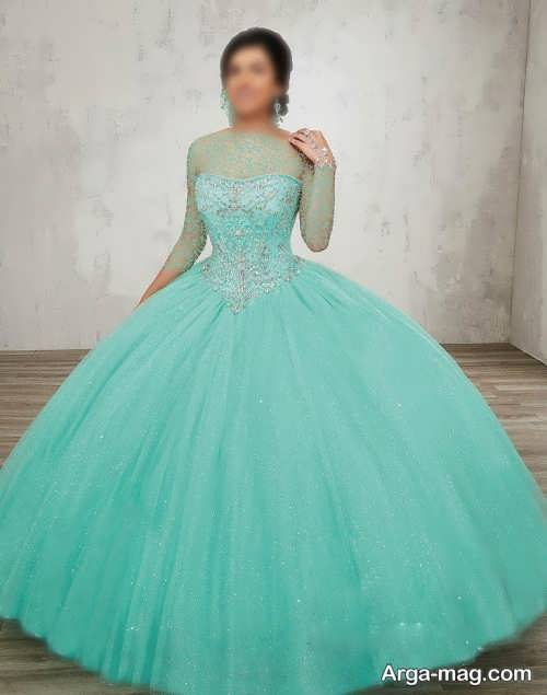 لباس عروس فیروزه ای