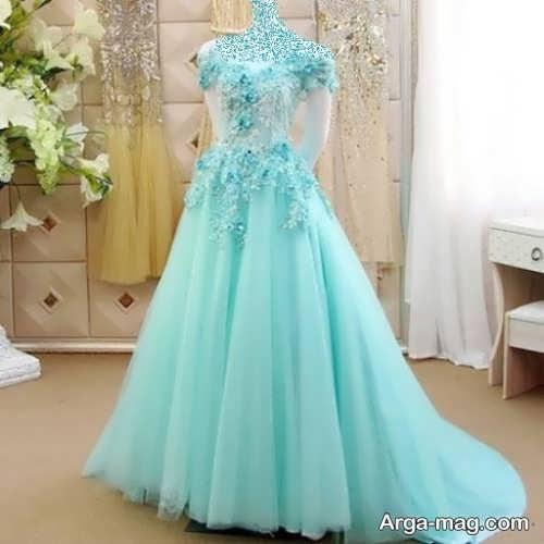 مدل لباس عروس فیروزه ای کار شده و خاص
