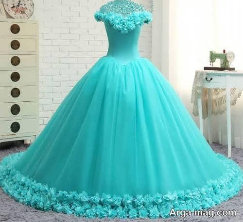 مدل لباس عروس فیروزه ای پفی