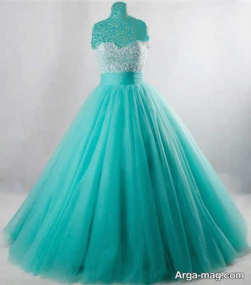مدل لباس عروس فیروزه ای رنگ تیره