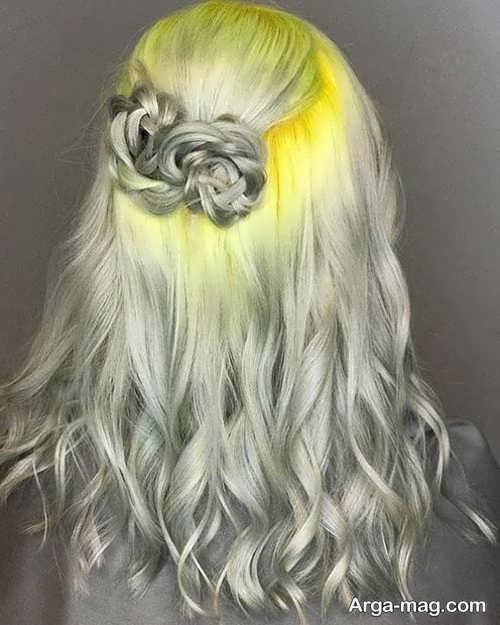 رنگ مو زرد و طوسی