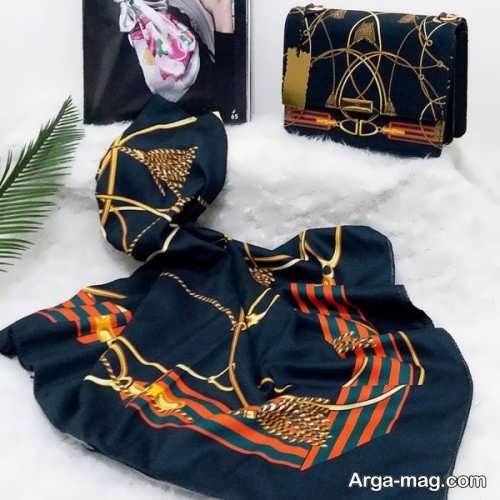 ست روسری و کیف دو رنگ