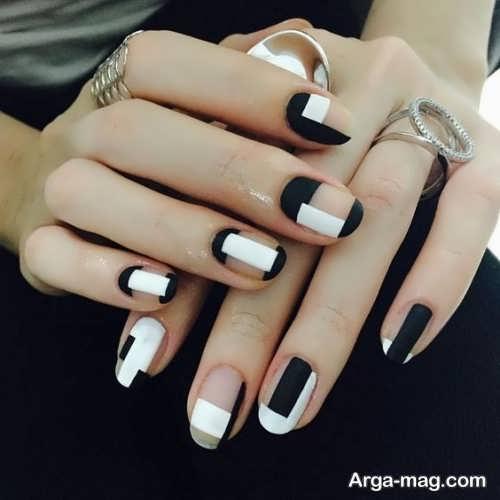 طراحی ناخن دخترانه سیاه و سفید