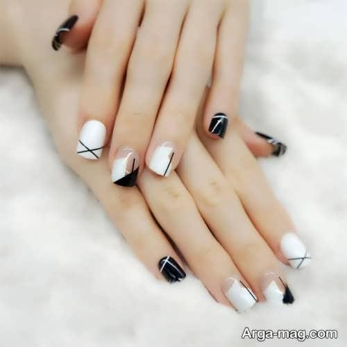 مدل های شیک طراحی ناخن سیاه و سفید