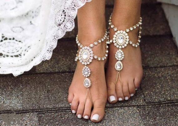 انواع طرح های زیبای پابند عروس